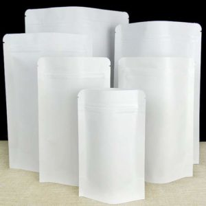 White kraft paper stand up pouch